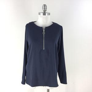 Ann Taylor S Navy blue Blouse Tunic High Low Hem